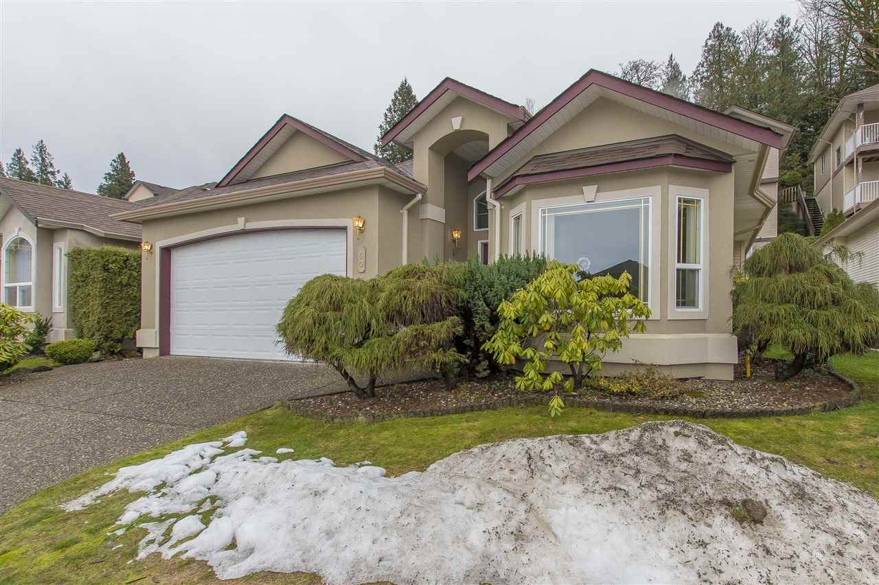 Grandview Ridge Estates!  This 1600+ sq. ft. rancher features 2 bedrooms and den that could be 3rd, bright formal living room and dining room, open kitchen overlooks family room with cozy gas fireplace. Efficient HEAT PUMP provides central A/C. Master has walk-in closet and 3 piece ensuite . DOUBLE GARAGE , built in vac , light tubes GATED freehold bareland strata in a private setting surrounded by farmland. No age restrictions . Make it yours !