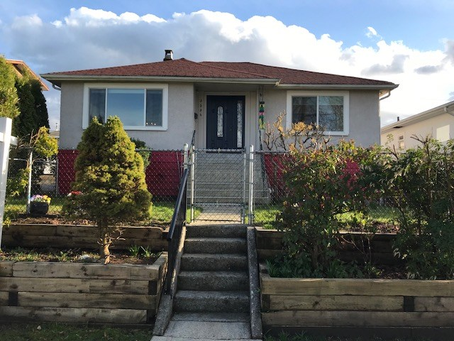 1st time on market. Renovated cozy 2 bedroom home on 42.82' x 110'=4710 sf lot, Renfrew Htz! Southern yard with huge deck. 3 car 620 sf newer garage built with permits, new windows. New Kitchen. High side of street. Mountain views. Perfect to live in, rent out, hold as an investment or build! Better than Townhouse or Duplex. Close to skytrain, Graham Bruce Elementary and Cariboo park. Fenced & secure. 1 bedroom suite, 2 laundries. All measurements approximate, buyer to verify if important. This is an incredible property! Text pls. OPEN  HOUSE SAT, Feb 17th 1-3pm.