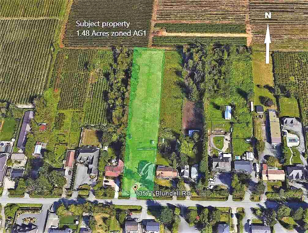 SOUGHT AFTER ACREAGE IN EAST RICHMOND. READY TO BUILD! Country living in the City! PRIME LOCATION TO HAVE YOUR DREAM HOBBY FARM here on this PRIME 1.48 acre property. Zoned Agricultural AG -1. Fantastic views of the North Shore mountains!  Building plans are available. Central location close to city,  shopping, recreation, golf courses and quick access to connector, Knight street north to Vancouver and Hwy 99 south.