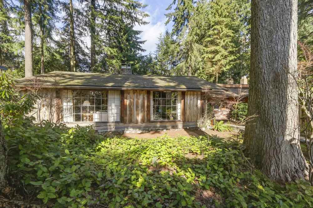 Nestled in the heart of highly desirable Blueridge, this gorgeous & level property is 12,672 SF (96? x 132?) on a quiet cul de sac with access via gravel driveway entering into your own woodland setting. Totally private, this rambling & spacious 2059 SF rancher offers 1 level living & was built in 1952. The home enjoys vaulted ceilings & skylights allowing the light to show off the beauty of the wood interior. There are 2 brick wood burning f/p & 1 gas. The home has been enjoyed for many years by long-time owners. This may also be considered as a great building lot for your future home. Do not walk on property without an appointment! Land measures from DNV & house measures by Pixilink are approximate, buyer to verify. School catchment is Blueridge & Windsor.