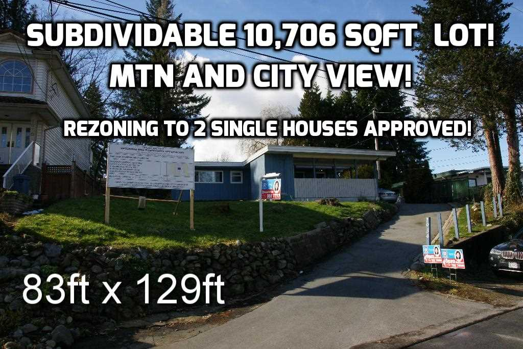Investors Alert!!! Beautiful house on a huge (83x129 ft, over 10,700 sqft) rectangle flat view lot in a nice family orientated area. Unblocked Burke mtn and city view! Rezoning application was approved, 3rd hearing was passed on Feb. 14, 2018. Lot can be subdivided to two smaller single family house lots, or build a dream house here. Very convenient location, close to HWY#1&7, schools, parks, Coquitlam Center shopping mall and Evergreen line skytrain stations, public transit. Lots of potentials! Won't last long. Call for more details! Proposed subdivision plan and topographic plan available upon request!