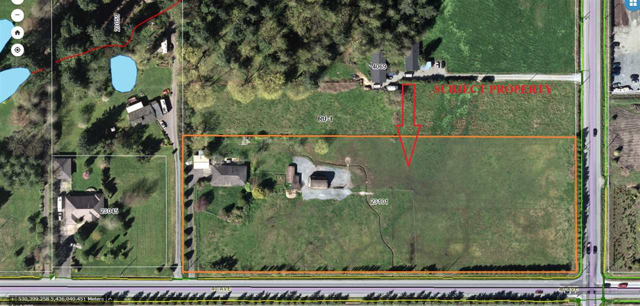"""5 Acres with 1,676 sq.ft Rancher located at the corner of 232 Street/40 Ave, 2 road frontage, Zoned RU-1 within ALR. There are various out buildings including carport, Chicken coop & barn. Property is fully fenced, cleared and no Creek. RU-1 Zoning permits one single family dwelling plus mobile home (please verify with Township of Langley), equestrian centres, riding stable, mushroom farms, commercial greenhouses and more. Subject property is only 2 blocks south of Fraser Hwy, close to all amenities & Trans Cda Hwy. Great building site, ideal for Farming & Horse operation. The property & its improvements in it """"as is where is"""" condition. Property Tenanted and Showings by appointment only."""