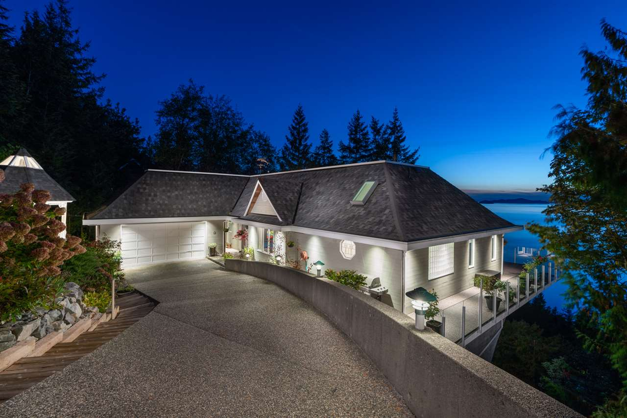 Stunning 180 degree Oceanviews await from this meticulous, beautifully updated home. Fast & Epp, World Class Engineers have created a one of a kind, dramatic setting overlooking Howe Sound. Over 4687 sq feet on 2 levels, each room with a view. Main floor Great Room with soaring 16 ft vaulted ceilings, H/W floors, Stone fireplace, wood burning insert, custom kitchen, eating bar, Sub-zero, Bosch Microwave & DW, Fisher Paykel gas 5 burner stove, Custom laundry/mud room new W/D, Huge Master on main with walk in closet; steam shower, jetted tub & heated floor; 4 more bedrooms down, one ensuited, perfect 2nd master; Media room & lots of storage complete 2nd floor. Roof, gutters, fascia, 2015, New H/W & home heating system. A must see! Lions Bay is exempt from speculation tax!