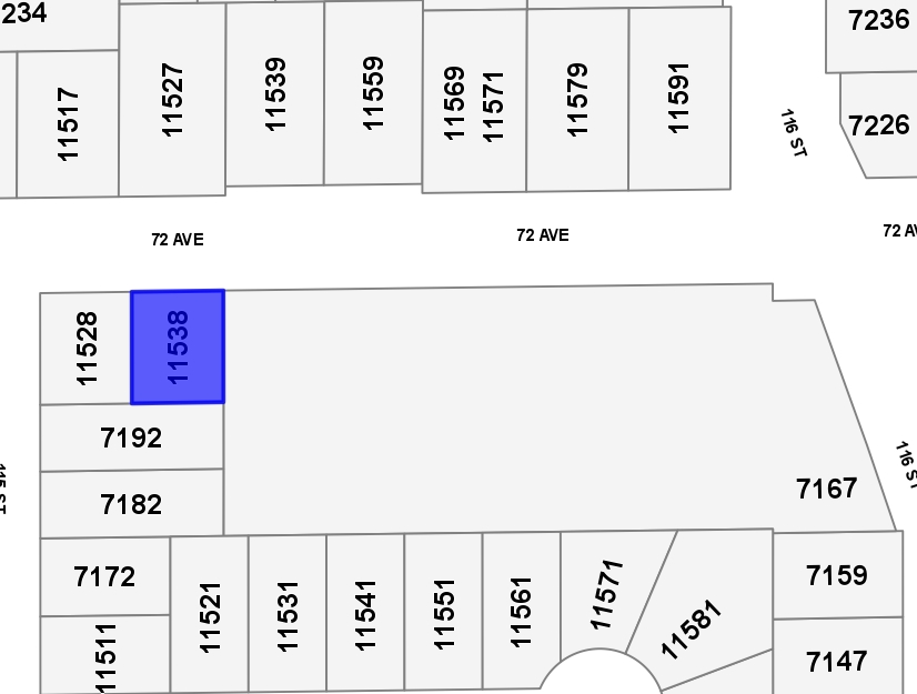 Part of the 72nd Ave. Economic Investment Incentive Zone (Please see 72nd Ave Revitalization Bylaw No. 7224)  City is looking for higher density townhouse developments through lot consolidation of at least 4 lots.  Expected FSR of 1.2, but please confirm with City.