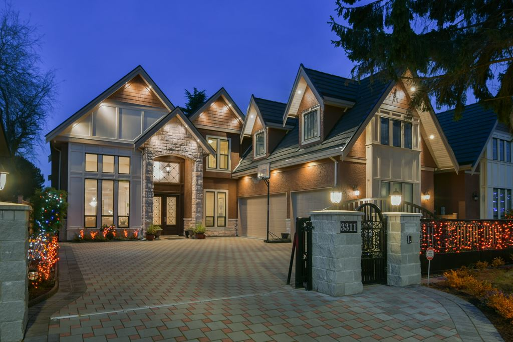 Prime location, luxury design & quality built, 2 years young and shows like new, GST  paid. Open concept, Classy & elegant, 3,410 sq ft. Triple garage with full attic above. 5 bedrooms(4 ensuited  up & 1 down), den & home theatre. 10' ceiling thru-out, 16' in living & family rooms, 12'  ceiling in upstairs hallway. Gourmet kitchen & wok  kitchen, high end Jenn-Air appliances.  Electrolux gas cooktop in wok kitchen. Home theatre with wet bar. Spa-like master ensuite has steam & rain shower, jetted  tub. Covered balcony off Master bedroom. Air-conditioned, radiant hot water heat, HRV, built-in vacuum, video security system, electric gated, auto lawn sprinkler.  Move in & enjoy, must see!