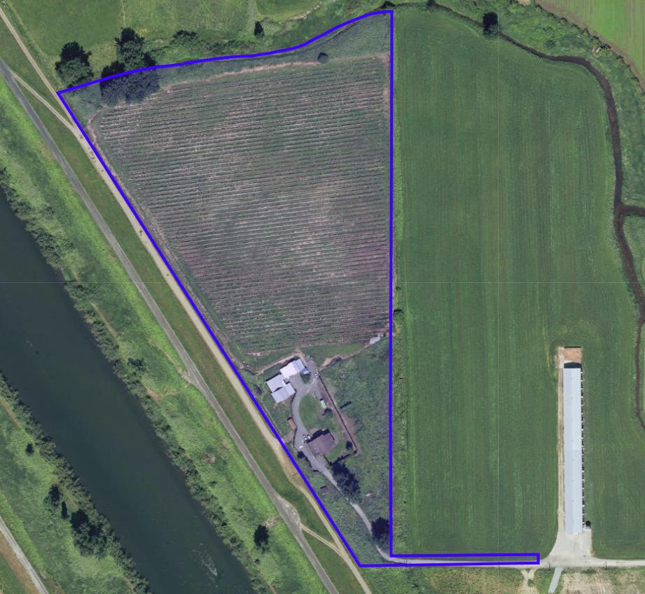 13.97 acres with a house plus a shop. House rented at $3,500/mth with shop. Tons of opportunity here, put an 2nd accommodation (must verify with city) Property is planted with blueberry but holds very little value.