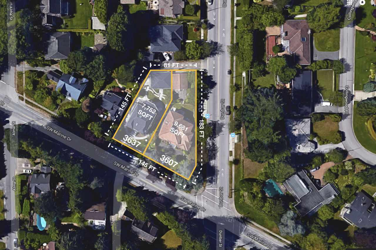 LAND ASSEMBLY - 3607 & 3637 SW Marine Dr. This is a south facing premium rental redevelopment site. City of Vancouver may consider this property under the Affordable Housing Choices Interim Rezoning Policy (for mid-rise forms up to 6 storeys for this site). Next door 3607 SW Marine also on MLS.