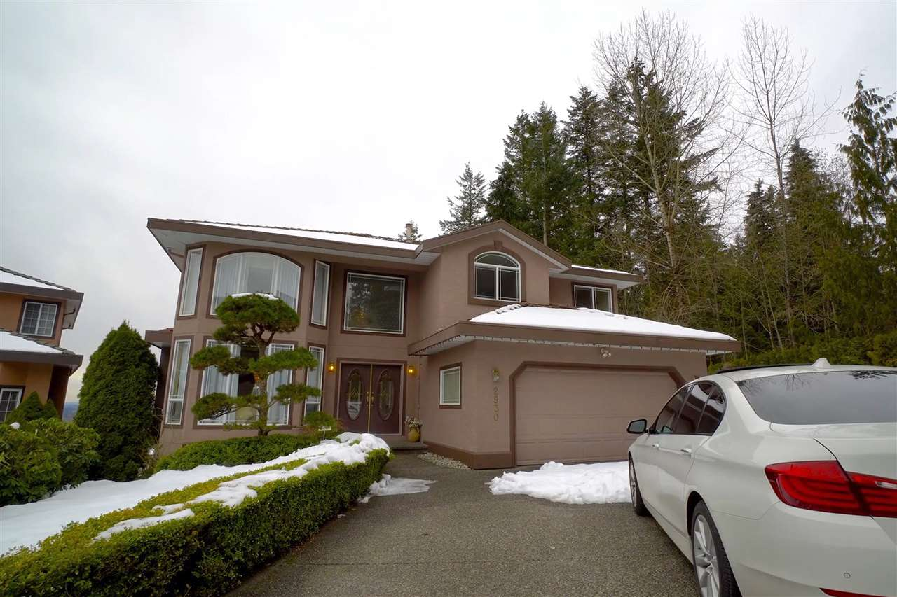 Beautiful 3 level home on quiet cul-de-sac, GREENBELT location in the heart of Westwood Plateau minutes to the prestigious Westwood Plateau Golf & Country Club. Quality finishings throughout. Large tiled foyer & living room with gas F/P & 20 ft ceilings. The large windows add lots of light for living room as well as adjacent dining room. The gourmet kitchen is loaded with a newer cabinets, lots of granite counter space, a center island, tiled floor and backsplash with a gorgeous unobstructed view. The E/A leads to a S facing sundeck with great Mt Baker view. The family room has a large picture window to enjoy the view & cozy gas fireplace. Schools; K-5 Pinetree Way, 6-8 Summit, 9-12 Pinetree.