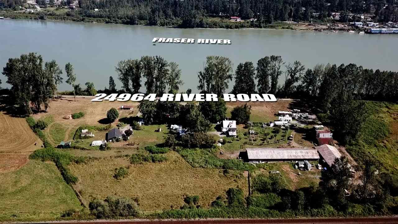 River front property (almost). 8.15 acres on dead end street fronting Fraser River and surrounded by City of Abbotsford parkland. Perfect spot to build your estate property or generate income - currently operating as a non-conforming trailer park generating $4800 per month (owner currently has an application in with the City for an amendment to be conforming). Call for details. Solid, older out buildings (40 x 150 and 40 x 100 metal clad shops or barns). Call today for more information and your personal showing!