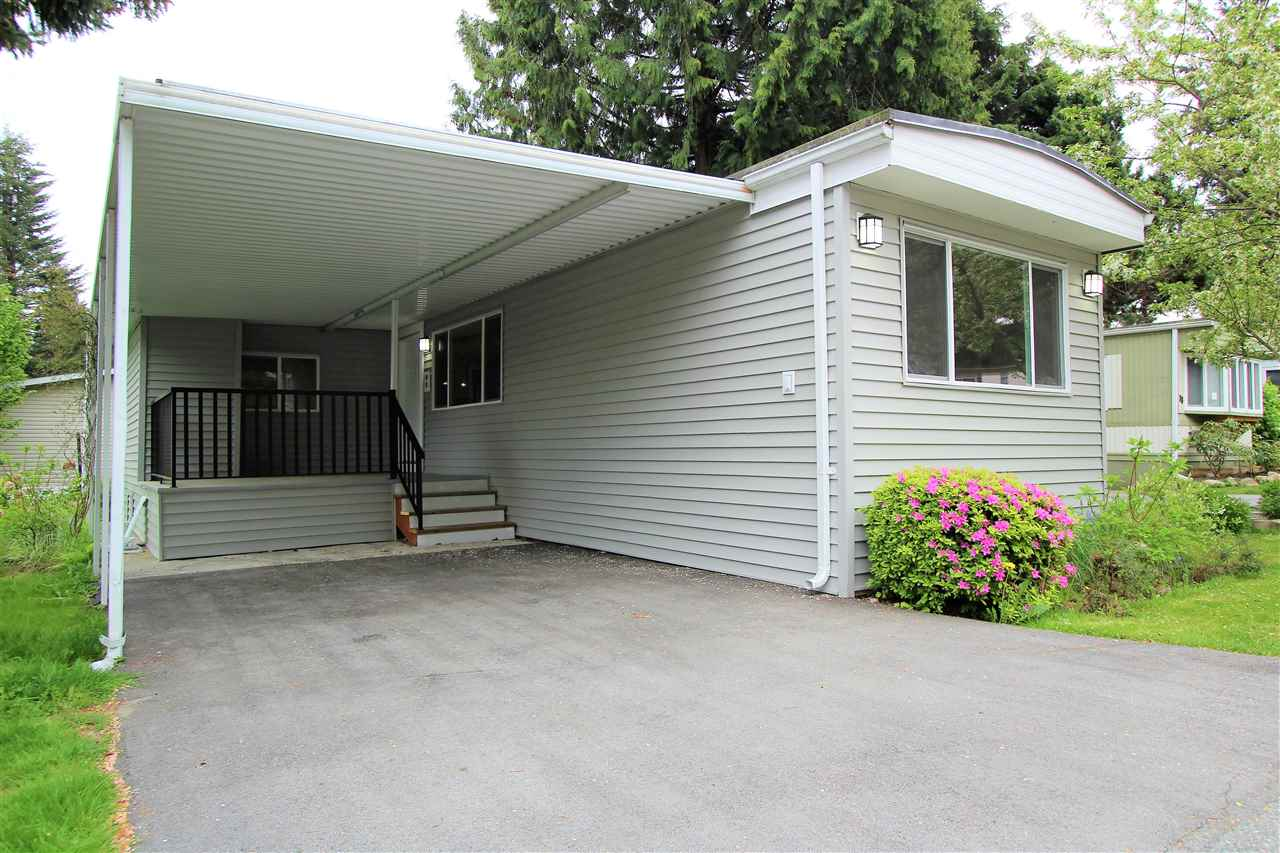 HOME SWEET HOME!  3 Bed 2 Bath 100% Renovated Manufactured Home in the BEST PARK in Surrey.  CRISPIN BAYS is a Large, Well Managed Home Park located in the heart of Newton steps from the Transit, Superstore, Canadian Tire, Costco and Everything Imaginable.  Inside the Park there are Places to Play for the children and a Community Swimming Pool and Common Building.  Your New Home has been Professionally Renovated from Top to Bottom.  NEW Windows, NEW Drywall, NEW Paint, NEW Appliances, NEW NEW NEW ... the Layout is Great! Convient 4 Piece Master Bathroom at the Front, and the Other 2 Bedrooms are Spacious.  Open Concept Living in the HUGE Living Room/Dining Room Kitchen. Super SAMSUNG Over Sized Washer and Dryer.  This Home has it ALL.  CHILDREN ALLOWED, RENTALS ALLOWED, LOCATION LOCATION!