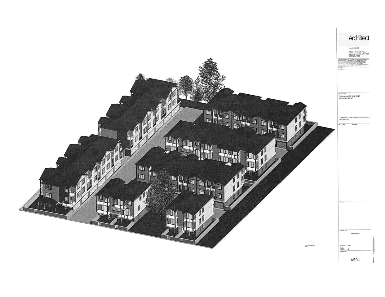 EXCELLENT OPPORTUNITY! INVESTORS/DEVELOPERS ALERT! PARK FACING  TOWNHOUSE SITE. 3 lots in total: 4400, 4420 and 4440 Smith Crescent where the total lot size is approx 65,991sf with buildable FAR 0.75, approved to develop 34 mixed units of 3 storey townhouses with total FAR of 49,498 sf. The site is under rezoning and Development Permit circulation, purchase price includes all the drawings and related documents. City of Richmond has expressed interest to allow the site to rezone to home care facility as well. Close to school and shopping. Tenanted! Please do not walk into the property or disturb the tenant. Call LS for details.