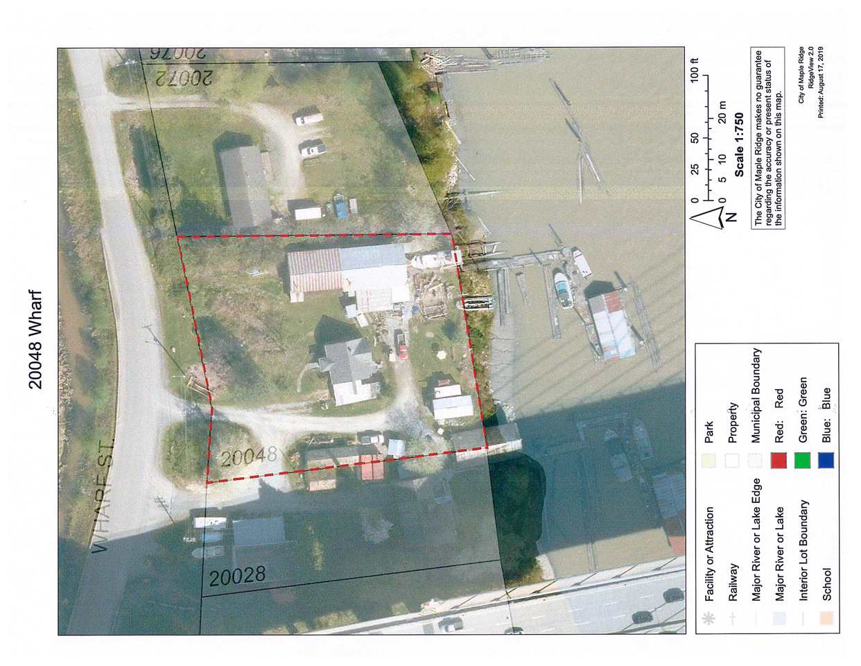 40,000 square feet of land right on the Fraser River, currently zoned RS3 but OCP has it MMBP (Maple Meadows Business Park) can we purchased with property next store for over 60,000 sq feet of land, has a moorage lease with Vancouver Port for Shore Rights, 20048 Wharf has approx 54 meters of river frontage and neighbour has 28 Meters.  Currently running a fishing business on land, large boat shed with water access, large fishing net shed, and many more out buildings, house is very rentable.