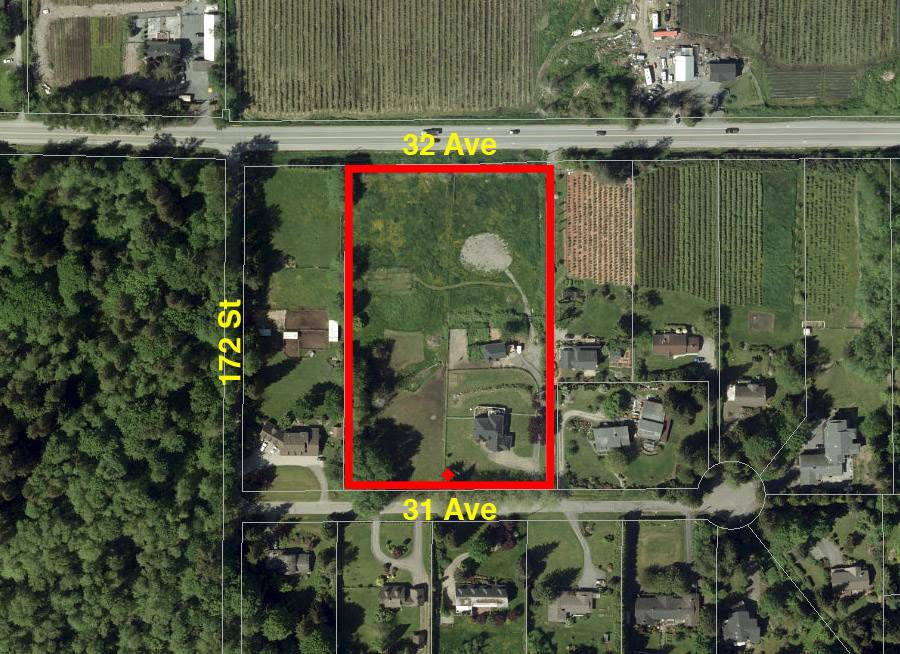 North Grandview - Optimally located, 4.6 acre parcel with future development potential and valley/mountain views. Easy access from both 32 Ave & 31 Ave. Possible near-term opportunity to subdivide into two 2.2 acre lots with current zoning or hold for future development. Considerable development already underway in the area with large nearby project in review for approval. House is good condition and currently under lease with good tenant. Close to schools and shopping. Easy access to Highway 99 to Vancouver or US Border. Very good holding property. Do not miss this unique opportunity to be part of the development transformation in the Grandview region of South Surrey.