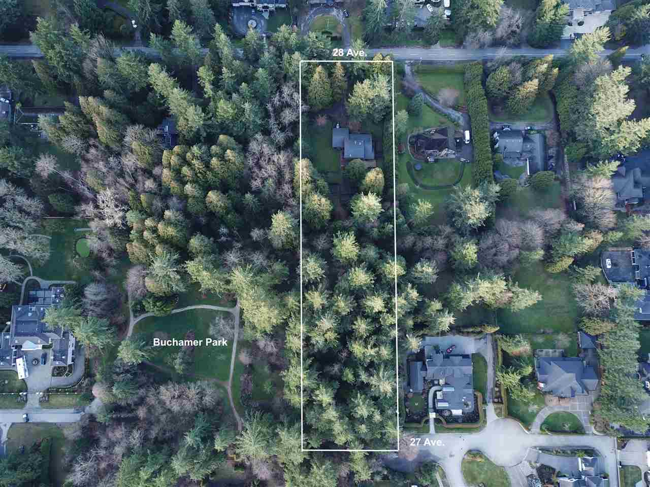 INVESTOR / DEVELOPER ALTER! Rare find 2.34 Acres sub-dividable property in the prestigious Elgin Chantrell, South Surrey. Two accesses, one on 28 Ave. at the front and another one from 27 Ave at the south back of the property, next to beautiful Buchamer Park. The maximum unit density would be five units per hectare (two units per acre). The property is designated Half-acre gross density in the Central Semiahmoo Peninsula Local Area Plan (LAP). The existing house is well taken of by the current owner with 3,579 sqft on a split level layout. The roof was replaced in 2005, 24'*32' workshop at the back. Great neighbourhood with multi-million dollar homes surrounded. Perfect for holding or development. Great school catchment Chantrell Creek Elementary. and Elgin Park Secondary school.