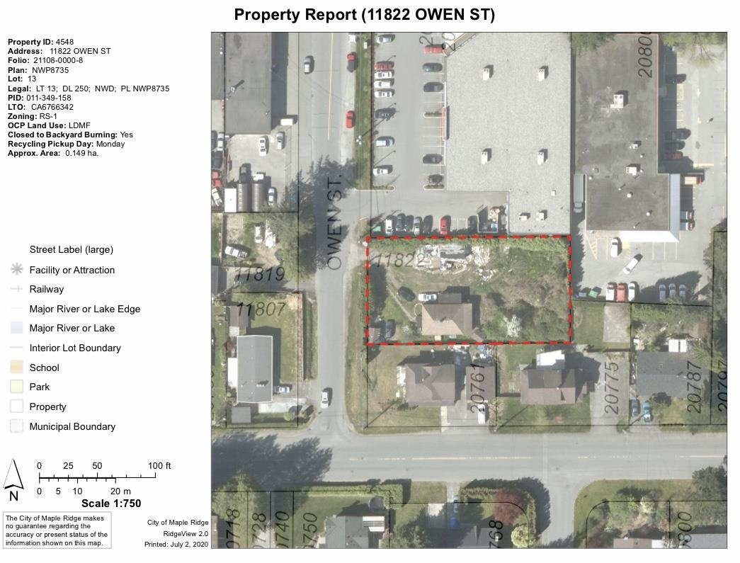 Development site.  This just over 1/3 acre lot in prime West Maple Ridge location is currently at 3rd reading for a 6 unit townhouse site.  Great opportunity for savvy builder to take on a smaller project with no immediate competition from other new town homes in the area. All services are at the lot line.  Walking distance to schools, parks, shopping and transit.  Flat site with no waterways or real topographical challenges.  Small 3 bedroom home on property currently rented for $1400/mo on a month to month tenancy. PLANS FOR 6 UNITS AVAILABLE, CONTACT YOUR AGENT FOR DETAILS.