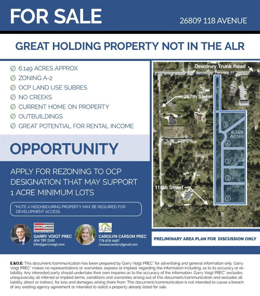 Designated Suburban Residential in the OCP outside of the ALR!! This is a great future potential development property. Potentially to rezone for 5 - 1 acre parcels as others are in the process of doing in the area (Buyer to verify with the City Of Maple Ridge for all potential development options). Just over 6 acres of land with no creeks! POTENTIAL FOR LOTS OF RENTAL INCOME or live now and develop later or keep as a great holding property while you go through the development process. The property features an original 2372 sq/ft 2 story home with solid bones and a BONUS massive 50x30 DETACHED shop with some great features, perfect for a mechanic or workshop! Buy now before land prices keep rising! DO NOT GO ON THE PROPERTY WITHOUT AN APPOINTMENT. THIS IS THE BEST DEAL IN TOWN!