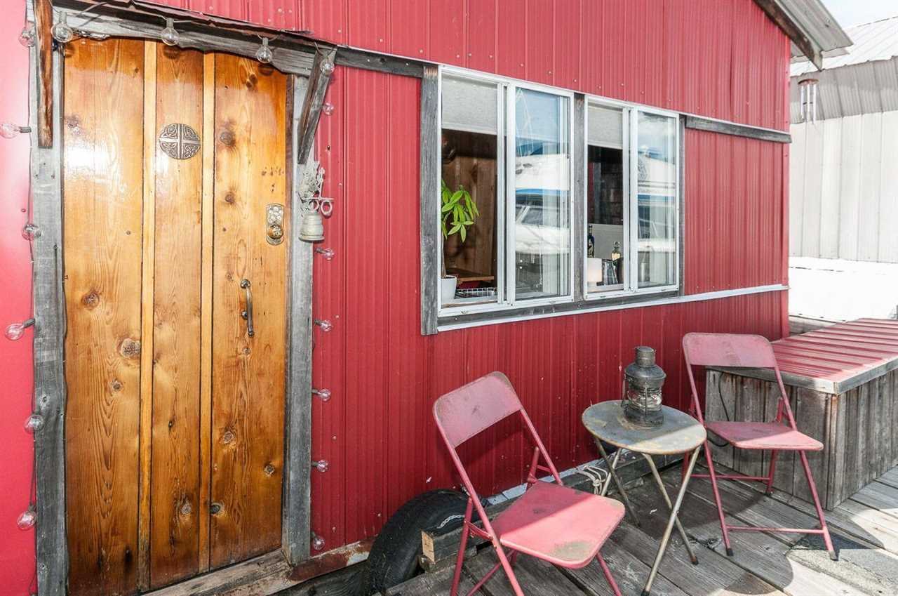 Another exciting and unique floathome at The Creek Marina, that evokes New York loft combined with rustic mountain cabin on the water in Lower Lonsdale. Located at the south end of F dock but still handy to the main gate and parking. Totally safe with cameras, lock access gates and 24/7 security personal. Quiet, private deck faces south/west and enjoys 180 degree views from downtown to Lions Gate bridge to the North Shore mountains. Unique features of the home are; all wood floors, curved walls, high-end wood stove/fireplace, antique French doors to deck, all metal siding/roofing and open plan shower/bathtub Combination. Current occupants pay $3200 pm for unfurnished accommodation. Pets, children and rentals are ok. The only marina that allows short term rentals. Nothing like it available at this price point and square footage in North Vancouver or Vancouver. Private viewings by appointment only. Call realtor for moorage information.