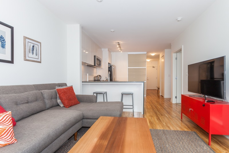 Here is a shining opportunity to own a perfectly-sized 2 bed/2bath home in Vancouver's hottest, hippest area Mt.Pleasant; only steps to Main Street, Cartem's Donuterie, Broadway 99 line & skytrain station. In a 2-year-new building with a quiet tree-lined street outlook lies this well appointed 760 square-foot unit with rich laminate floors, granite countertops, full-size top of the line SSappliances, and spa- like bathrooms. Sip a drink on your balcony or hang out on the large communal rooftop patio, courtyard/BBQ area. Bonus: Secure parking & storage, soon to be installed gym and rentals allowed. This home really checks all the boxes. Open Sat & Sun, March 25 &26, 2-4pm