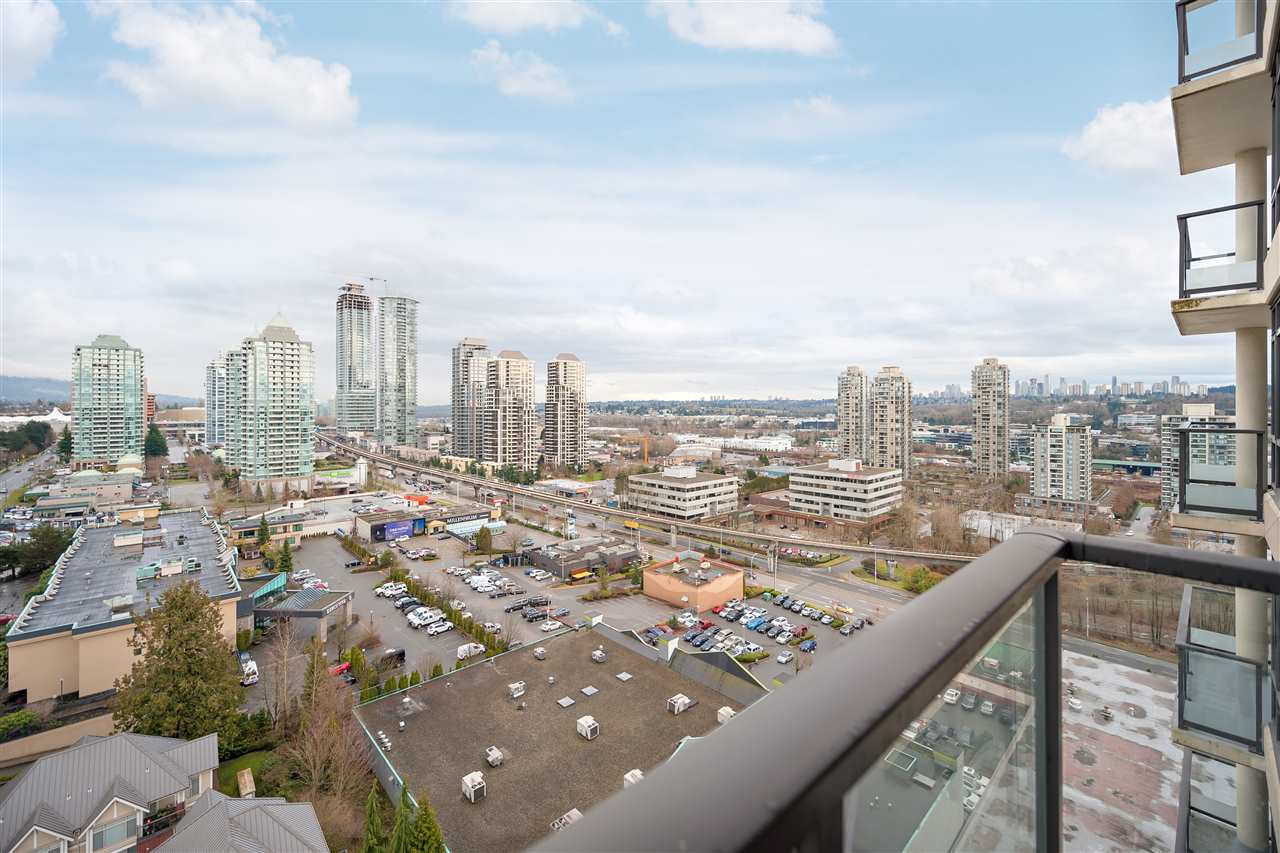 VIEWS, VIEWS, VIEWS!!! Enjoy peak to peak North Shore to Mount Baker and city views from this high up 17th level 1BR home. This open layout has 9ft ceilings boasting big bright windows and a fabulous 12X11 covered outdoor living space. Featuring granite counters with breakfast bar, stainless appliances, and electric fireplace. Proper storage throughout including your spacious walk in closet in your master bedroom. Centrally located only minutes to Brentwood Mall, in between Gilmore & Brentwood Skytrain, #1 Hwy, BCIT, & 20 mins to downtown. Fantastic amenities including fitness centre, Outdoor Pool & Hot Tub, media & meeting room. One parking and storage included! Open House Sat & Sun 2-4
