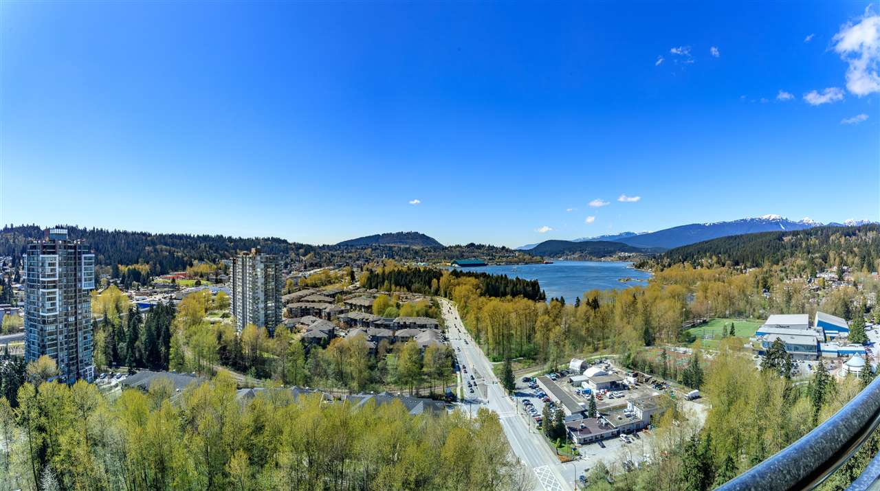 "Luxury high-rise living in the heart of Port Moody. Rarely Available Stunning Sub-Penthouse unit with gorgeous unobstructed views of the Burrard inlet, in the ""Aria"" by Onni at Suter Brook Village. Features include bright floor to ceiling windows, spacious comfortable living space, large balcony, open gourmet kitchen with solid granite slab counter & premium Kitchen Aid stainless appliances. Oversized floor tiles, wide plank laminate floor, 1 Parking and 1 Storage. Great Amenities including an indoor pool. Exercise center, sauna and much more. Just steps to shops and restaurants."