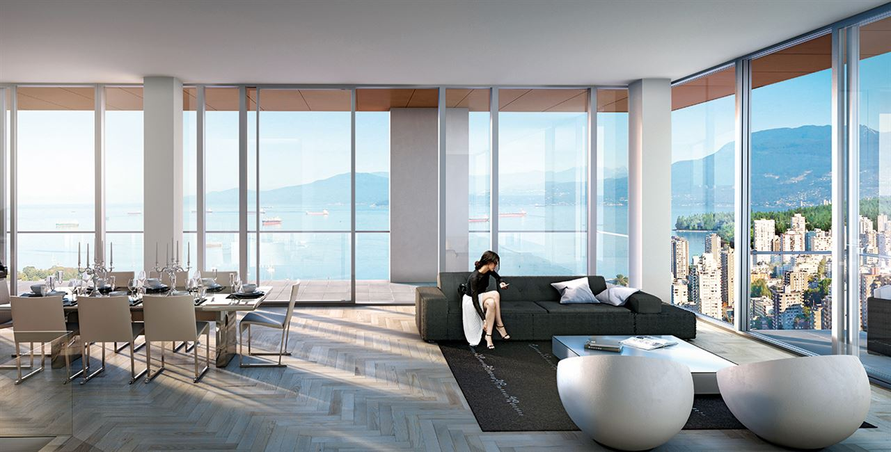 Vancouver House will be joining the skyline as the fourth tallest building in Vancouver. It's currently one of the world's most talked about real estate projects designed by the world famous Bjarke Ingles Group and developed by Westbank. With 2372 sf of indoor living space and 190 sf of outdoor living space for a total of 2562 sf, this unit is a must-have Vancouver House home.This home offers over $100,000 in upgrades, the ideal entertaining space with open concept living, a Boffi chef's kitchen featuring Miele appliances and a custom BIG-designed Corian island, as well as three bedrooms and a secluded library for use as a home theatre or additional guest bedroom. This unit spans the North facade with unobstructed views from English Bay to False Creek including Downtown and Stanley Park.