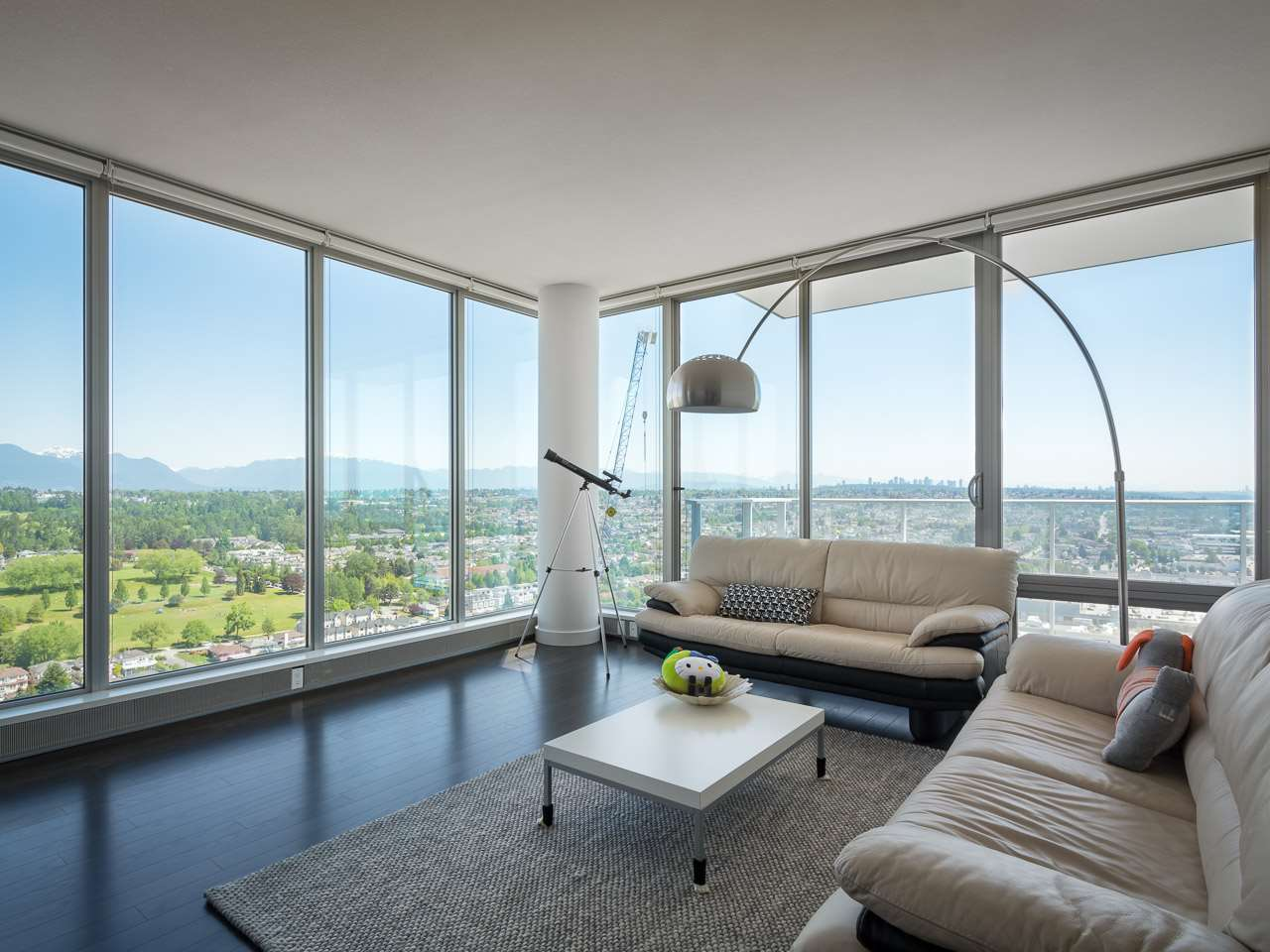 Gorgeous penthouse unit in MC2 South Tower. Fantastic panoramic views of North Shore, Mt Baker, and Fraser River! High end integrated appliances, stone countertops, large floor to ceiling windows and wood flooring. Open kitchen with island counter. Luxurious 4 piece ensuite bathroom in master bedroom. Double parking spot close to elevator. Concierge service, lounge, gym and rooftop garden available. Across the street from skytrain, shopping, restaurants and entertainment district. Call now and book your showing appointment today!