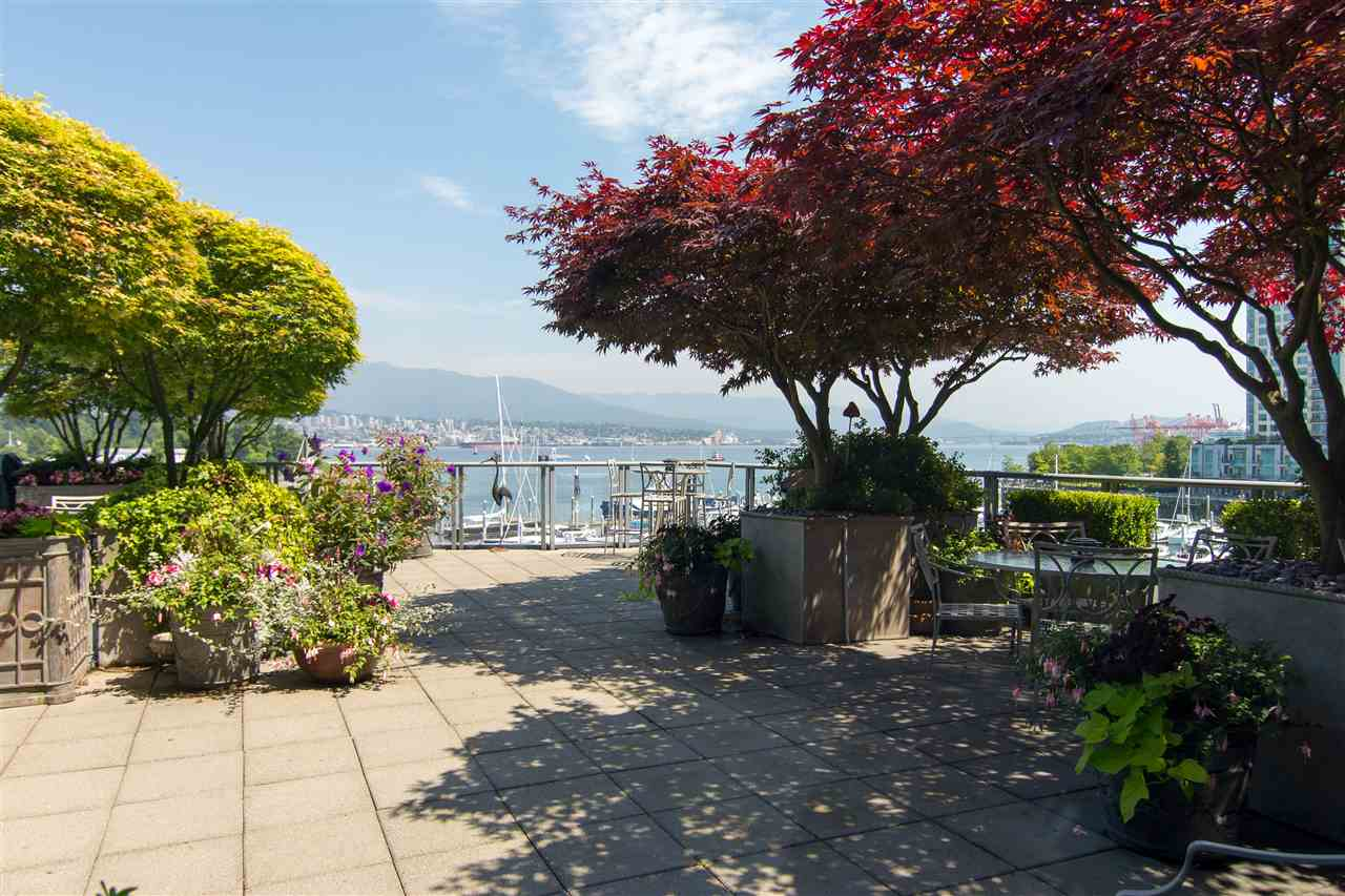 Amazing waterfront patio home. 3882 sq ft indoor+1500 sq ft private, landscaped garden-patio - irrigation, lighting & gas firepit - a total of over 5000 sq ft of indoor-outdoor living on the Coal Harbour waterfront. Coal Harbour, mountain, park views. Expansive open-plan living area. Reno'd 2016: Kitchen, bathrooms, LED lighting, flooring & paint. Gorgeous kitchen features marble, SS Miele appliances & double wine fridges, large office (or 4/5th bedroom), laundry rm, in-suite storage & workshop. 2 large mastersuites w/WIC, plus an adtnl bedroom. Now 3 bedrooms + office - can be 4 plus office or 5 bedrooms. 4 pkg, 4 stg lockers. Pets/rentals allowed. By appt only. Room measurements are aprox - to be verified by buyer if important. TTL sq ft from strata plan.