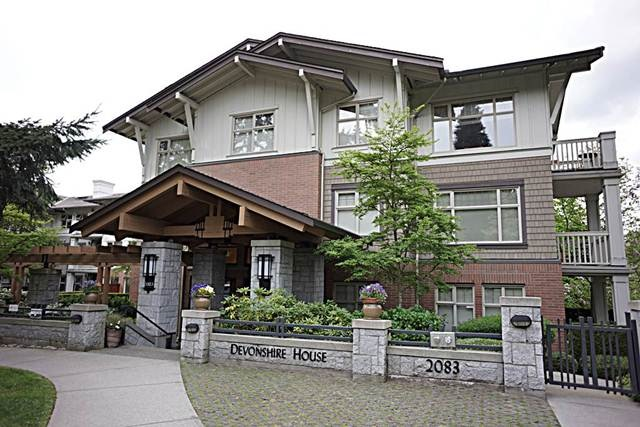 DEVONSHIRE HOUSES built by Polygon. A highly desirable neighbourhood in Vancouver. Unique 3 bedroom plus den on top floor. Only one unit with this special floor plan in the whole building. Comparable large bedrooms size. Very QUIET corner end unit with windows open on 3 side. Open plan with 9ft ceilings. MBR includes double closet and extra large master ensuite. Lovely gas fireplace in living room. Prince of Wales, Shaughnessy Elem catchment. Great amenities incl. outdoor pool,fitness centre & lots of visitor parking. Well maintained garden and steps to Quilchena Park. Extra large parking space as bonus. Close to everything, walk to shopping area.