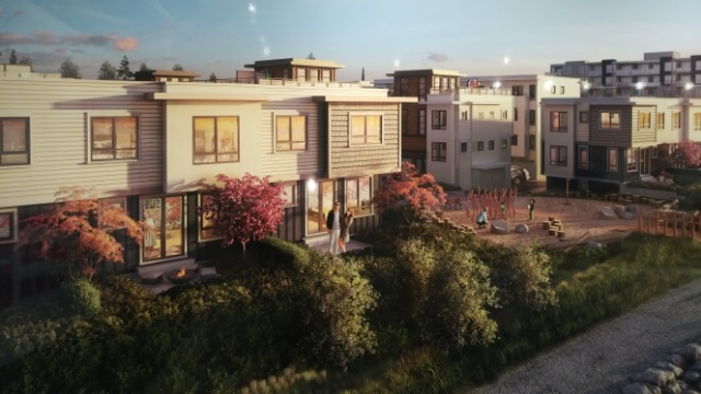 """""""PARC Riviera Mews by David"""" Forever view, true river front  townhouse with (PLAN D1) side x side double garage, Lg private fenced yard to new park. 1,376 sq ft of open living space, 9 ft ceiling, geothermal heating + cooling, premium appliances and finishing, engineer wood floors, (completion end of 2019) sales office open daily nooon - 5 pm except Fridays."""