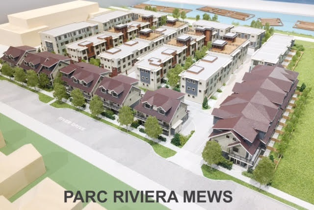 Parc Rivera Mews - 90 units Pre-sale townhouse preject on River Drive. This 3 bdrms 2.5 bath boast 1376SF wit SxS 2 car garage. Gourmet European kitchen appliances, engineering hardwood flooring. 9' ceiling on main. Centralized air conditioning (geothermal). This is a waterfront community. 4000SF long dyke, clubhouse with party room, gym, indoor pool/hot tub & BBQ area for your enjoyment. Mews offers 3-4 bedrooms and different floor plans to chose from. Some have a roof-top deck. This plan faces parkside. Pricing starts from $809,900 to $1,269,900. Please contact the listing agent to book a private appointment. Completion estimated fall 2019/Spring 2020.