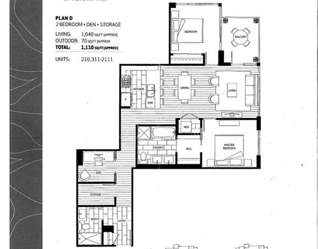 Bright and spacious 2-bedroom + den, 2 bath condo in PARKSIDE at Victoria Hill! Functional floor plan with bedrooms on either side of the living room for added privacy. Featuring granite countertops, gas stove, hardwood flooring and much more. 2 side-by-side parking stalls and storage locker. Pets and rentals are allowed. Showings by appointment.