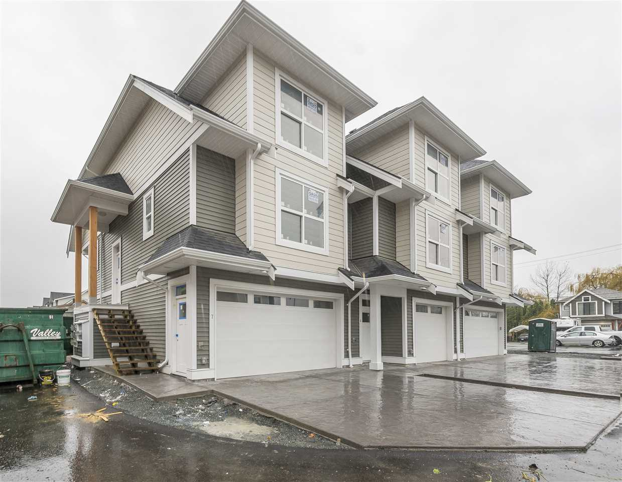 One of the nicest townhome complexes on the market! 11 units in total make this a quiet and cozy place to live. All units are complete with high-end finishing, full Stainless Steel appliance package and Modern color choices. Hardy Plank siding, 9' ceilings on the first and main floors, Community Garden and Childrens park private in complex. West side of Chilliwack, located near Prospera Centre, Hospital, Leisure Centre, Arts Centre, Skate park and Shopping. Homes feature 3brdms, 3bath with recreation room and bathroom on main floor off of garage. Options for Built in vac, Central Air Conditioning and Barbeque Box. Estimated completion for November 2017.