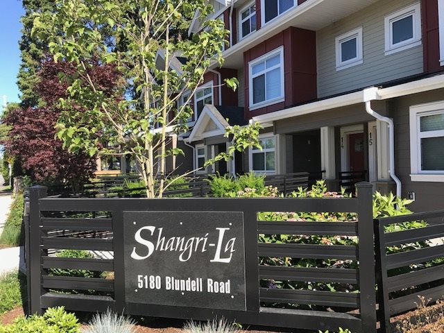 """""""Shangri-La Living"""" luxury townhomes located at the quiet side of Blundell Road. 3 level, 3 bedroom plus open Den upstairs, recreation room (4th bedroom) downstairs, 2.5 bathroom, radiant heat, 1,545sf with open gourmet kitchen, quartz stone counters, stainless steel appliances, laminated flooring in living and dining room, tile floor in kitchen and eating area, crown mounding throughout, double tandem garage. Functional layout, good size living room with electric fireplace. Air-conditioning, instantaneous hot water heater. Front door facing north, living room and master bedroom facing south."""