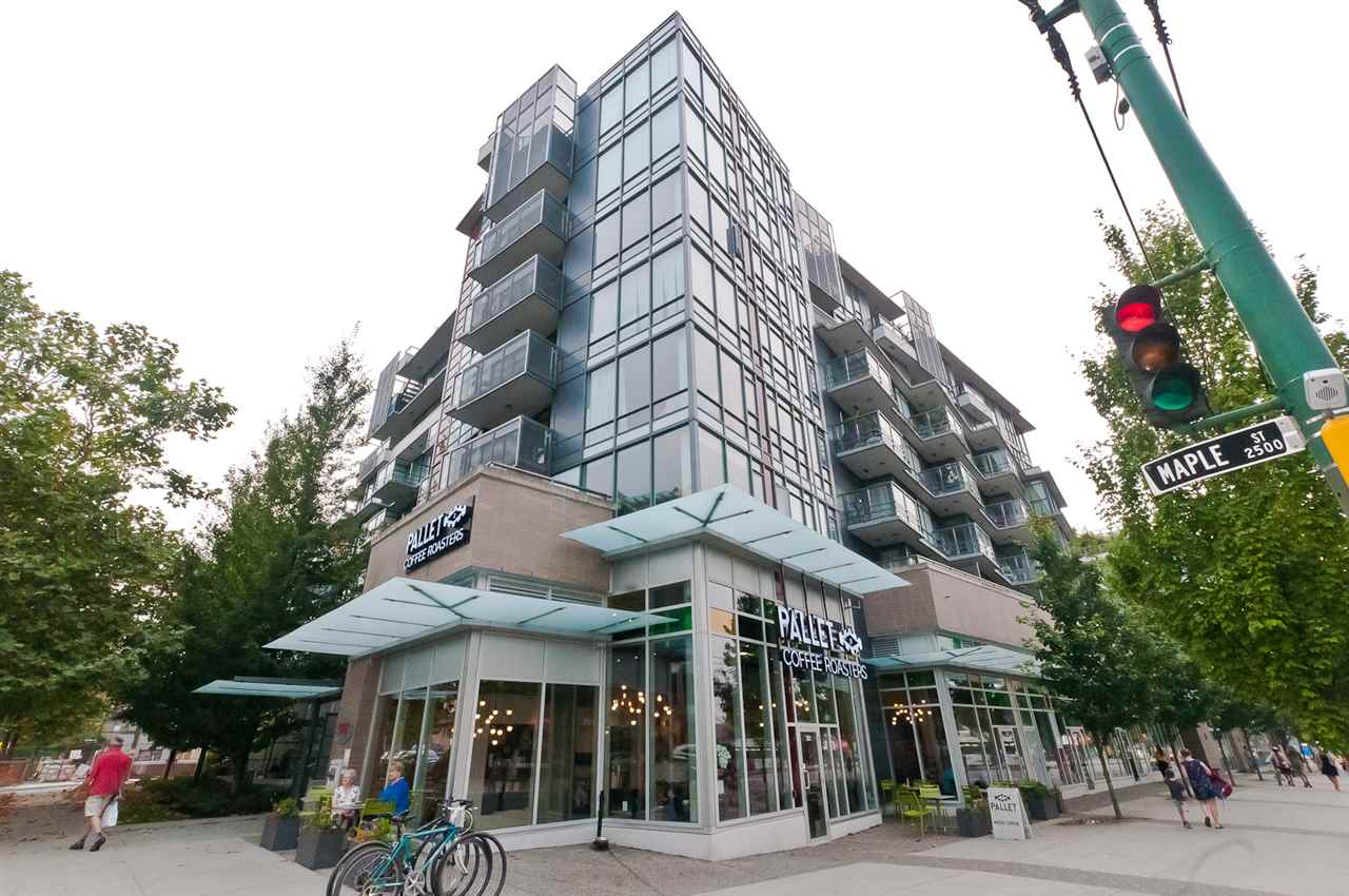 Won't last long 1 bed + flex space in sought South facing unit in sought after Kitsilano.  Open concept living space with stylish kitchen with upscale Bosch and Fisher Paykel appliances, gas range, dishwasher, undermount sinks, soft-close cabinet drawers, hardwood flooring and new carpets throughout. Special flex space which works well as a custom office or work space. Enjoy the 350 SF PRIVATE DECK, one of the largest terrace's in the complex, the unit is situated on the quiet side of the building facing south.  Extra features include: air conditioned unit, gym, bike room and many other amenities in this newer building. Walking distance to Kits Beach, transit & shopping at steps away. Parking & storage included. Rental & pet friendly building. Open House this Sat  & Sun  2-4pm.