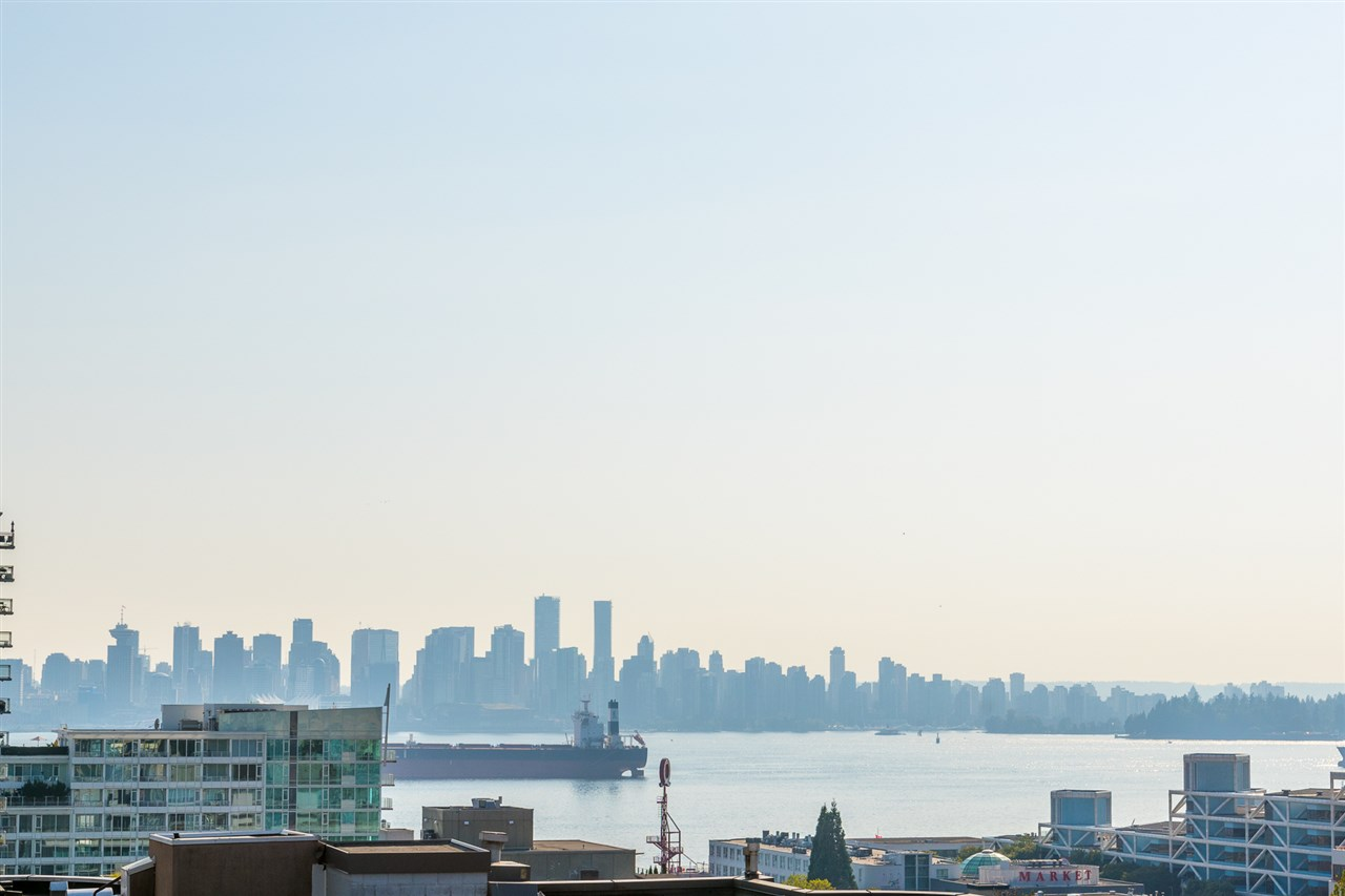 Welcome to the Anchor in the fantastic Lonsdale. This lovely 6 month old, quiet,South-West facing 1 bedroom plus den condo features a functional kitchen with Kitchen Aid Pro series appliance including a gas range, spa-inspired bathroom and a fantastic south-facing patio with views of Downtown, water and Stanley Park.   Building Amenities include huge rooftop deck outfitted w/ gas BBQ & patio furniture, fitness centre, entertainment lounge, dog wash & bicycle repair station. Suite comes with 1 parking & 1 storage.