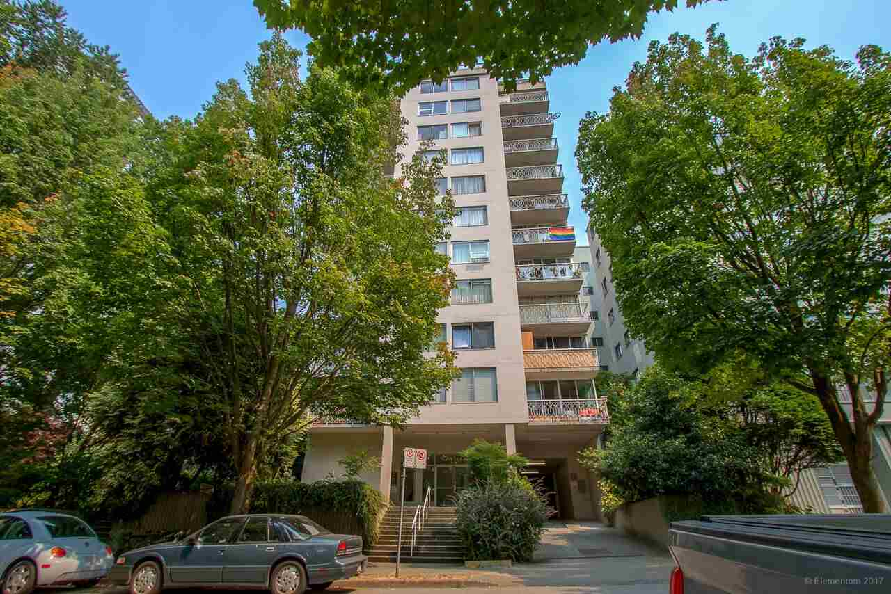 """A perfect investment, home or pied-a-terre. RENTALS ALLOWED. This suite has INSUITE Laundry &a dishwasher!! 2 short blocks to Sunset Beach, English Bay, Davie Village.2 bedroom corner unit has loads of light& a spacious balcony. """"The Chelsea"""" has been updated with permits - newer plumbing, parking, refitted elevator& a newer roof. It has a shared rooftop deck boasting 360 degree views. Maintenance includes property taxes & hot water. Rentals allowed. Sorry no pets. Parking & storage for rent thru building manager upon availability. OPEN house Saturday Oct 21st 2:30pm-4:00pm."""