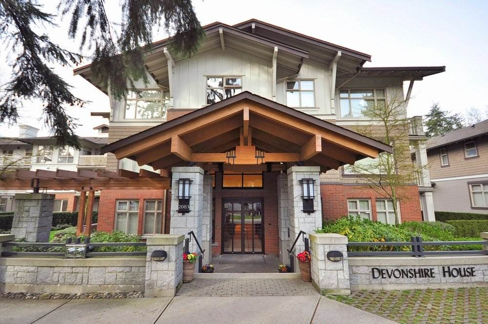 Big & bright condo suite with a balcony on 3rd floor of 4-storied, well-maintained Devonshire House developed by Polygon. 9' ceiling. Well-designed layout. Two bedrms plus a den. Large living/dining rooms. Master bedroom w/ 5-piece ensuite incl. bathtub & separate shower. Den has built-in desk & bookshelves. Gas fireplace, s/s appliances and in-suite laundry. The building has a large gym and a swimming pool. Within catchment area of the brand-name Prince of Wales Secondary School a few minutes' walk away. Other famous schools nearby such as Lord Byng, Point Grey, York House, Crofton House, Little Flower, St. George's and UBC. Perfect for child education. Close to Quilchena Park. Wheel chair accessible. Newly renovated. Ready to move in.Open house Oct 28 2-4pm