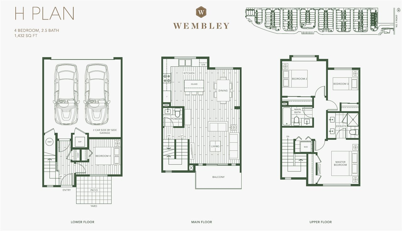 Welcome home to Wembley, a master-planned community of deluxe 3 and 4 bedroom townhouses in a convenient central Richmond location. This unique floor plan features 3 bedrooms on the upper level, a spacious main-floor living area, and a private den on the ground floor with patio access. Built for a modern mindset, Wembley offers an unbeatable combination of spacious, family-friendly floor plans, sleek interior design, geothermal heating and cooling for year-round comfort, and Club Wembley, the community?s amenity centre. Wembley is located within a kilometer of a high school, elementary school, shopping and some of Richmond?s best parks.