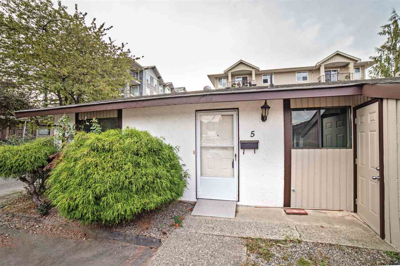 Affordable living in the heart of Chilliwack! End unit in a small, 55+ complex. Perfect level home for retirees. Townhouse has 2 beds, a walk out patio and fenced garden area with storage sheds front and back. Lots of closet space. Air conditioning unit in living room and security system in the master. Self-managed. Strata fee $156.00.  Pets allowed with restrictions 1 dog or 1 cat not to exceed 15 lbs.