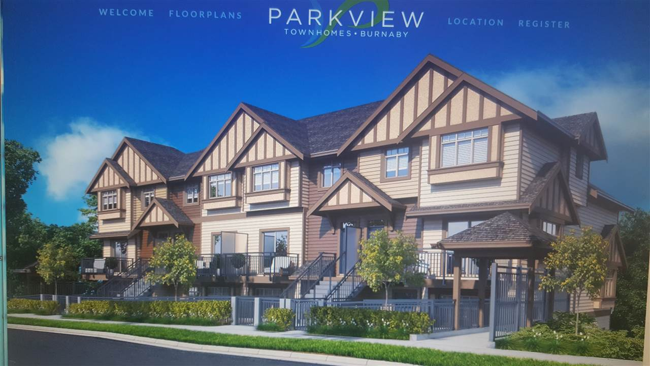 PARKVIEW TOWNHOMES, in the heart of Burnaby. Perfect balance of city living in a relaxing atmosphere. 2 bedroom 2 baths. 8 unique layouts to choose from. Quality stainless steel appliances to solid counter tops with undermount sinks. Proposed Completion June 2018. (NE CORNER UNIT)
