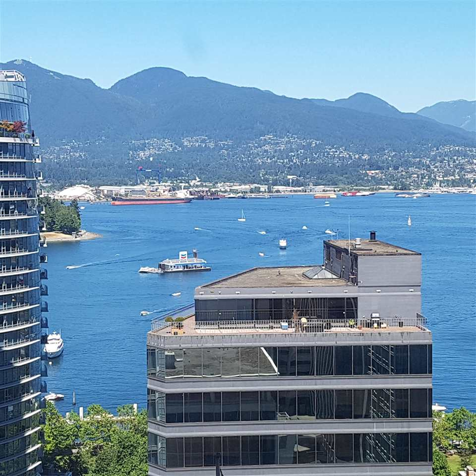 The best value currently on the market for a newer, view unit in Coal Harbour, at the prestegious 'SAPPHIRE'. Very exclusive with only 112 units, and Steps from Coal Harbour Park, seawall, Urban Fare, shopping and other amenities. Fantastic open views of the Burrard Inlet, snow capped Grouse and Seymour Mountains, and breath taking North Shore views.  This well laid-out corner unit boasts an open concept floor plan, FULLY RENOVATED: bathrooms, new engineered hardwood flooring and tiles, Bosch s/s appliances, granite countertops, and over $25K of costume closets by California Closets. Building amenities include a fitness centre, sauna, outdoor hot-tub and concierge. Property comes with a separate downstairs storage locker and 1 parking stall. Open House Saturday October 21st 2-4pm.
