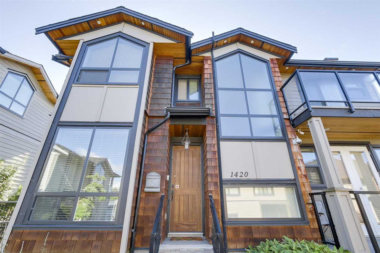 Looking for more space? $0 strata fees! Completely detached, no shared walls! This 5 bedroom, almost 2400 SF detached house on a strata lot has everything you need. Bonus #1: $0 strata fees. Bonus #2: Like a detached house. Bonus #3: Potential 2 bdrm mortgage helper w/sep entrance. Bonus #4: 2 car garage. Bonus #5: #1 blk to school/buses/shopping.Quiet & set back from main road in the heart of North shore. Contemporary 5 bedrooms, 4 baths on 3 levels w/9' ceiling and soaring cathedral staircase window lets all the light in. Very bright! Radiant in floor heating w/great floor plan and yard. Large kitchen equipped w/generous cabinets, granite counters, Samsung SS appliances, 3 bdrms up, each w/its own balcony. No Open Houses, please make appointment and try your offer!