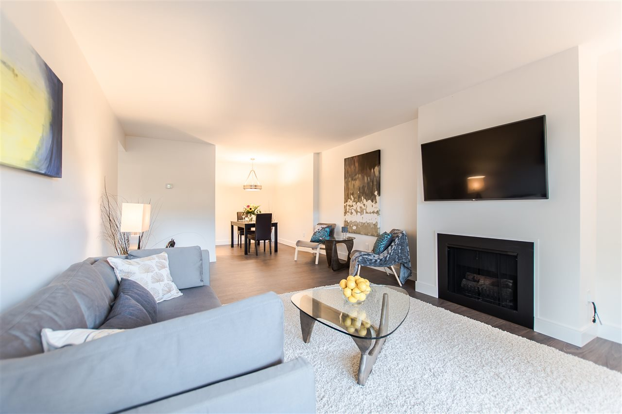 Amazing Massive One Bedroom & Den Garden Level Unit at the Landmark Shaughnessy. Nothing to do but pack your bags & move into this totally renovated 770 sqft apartment in Prime Fairview. Quiet north facing 208 sqft patio which feels like an extension of your unit. You have your own water bib & electrical power for gardening & entertaining. Brand new laminate & tile floors make this unit shine. Stainless Steel Appliances, double bathroom sink, soaker tub & rainforest shower head. One parking stall which you're able to build extra storage in front & 1 storage locker + free shared laundry. Sorry no pets or rentals allowed. Open House Sat Oct 7 from 2-4.