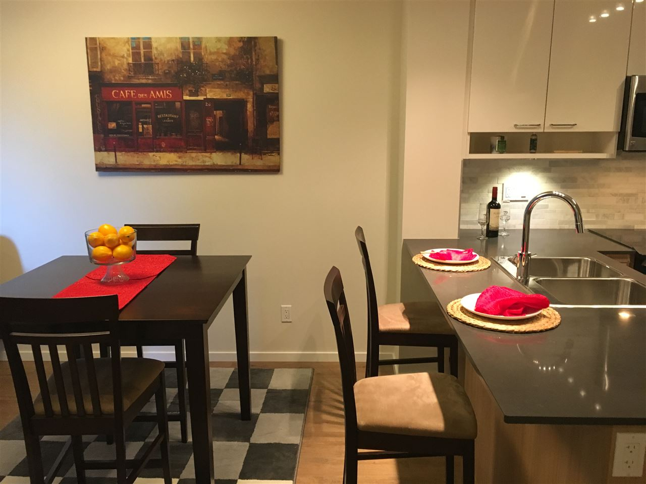 Beautiful 3 year old 1 bedroom, 1 bath + den apartment in  central Maillardville, near transit and shops.  Stone counter tops.  Comes with 1 parking stall and 1 storage locker. Rentals allowed and pets allowed.  Remainder of 2/5/10 Home Wararnty.  Come and See! Open House Sunday, Oct 15th 1-3pm.