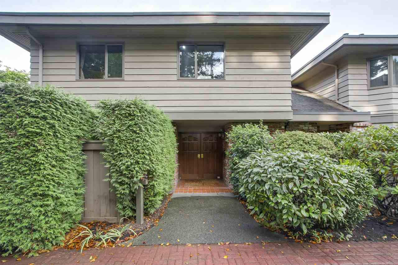 Shaughnessy Place ? This hidden gem is situated in a quiet park like setting next to Van Dusen Gardens. One of the largest units in the complex, this end unit TH has 3 beds + den on two levels, 2400sf of living & an 800sf attached 3 car garage. S, E & W exposure with windows on three sides & vaulted ceilings in the living room gives a detached home feeling with lots of natural light & large principal rooms. Large master suite with private balcony & separation from the other two bedrooms with lots of storage both in the suite & in the garage. Beautifully landscaped private wrap around garden patio with S & W exposure. Sought after Shaughnessy location, close to some of the best schools, easy access in and out of town, perfect for downsizing from a large home, professional or family living. Contingency reserve fund $190,527, util $150/mo.