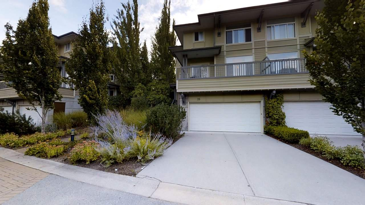 Beautiful extensive updates in 2013, and still shows like new. One of the BEST LOCATIONS, LIVES LIKE DETACHED HOME w/private fully fenced yard, views out front and back to the garden and coastal mountains as a back drop. Excellent floor plan w/large living room, family room and dining room on main and character chef's style kitchen. Top line stove and d/w, granite counters, wood cabinetry and custom lighting throughout. Large master suite and two bedrooms above, flex room below can be home office, media room or for use by guests. Great parking for four vehicles, large double garage plus two full size driveway parking pads at the front. Laundry and storage below. This is truly a beautiful home. LIVE LIKE DETACHED!