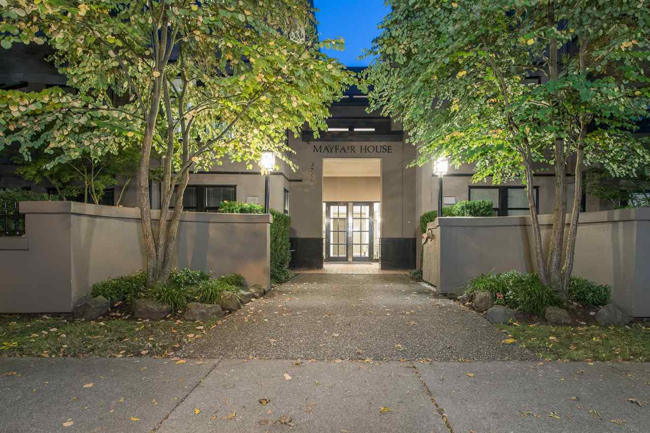 RARE OPPORTUNITY at the highly sought MAYFAIR HOUSE in prestigious Point Grey - steps to shops, restaurants, transportation, and the beach! This extraordinarily spacious 1,572 sq ft - TOP FLOOR UNIT - 1 OF ONLY 2 WITH NO SHARED WALLS - will accommodate all of your house sized furniture. You'll be impressed with the spectacular 19 FT VAULTED CEILINGS & 8 SKYLIGHTS! Perfectly suited for downsizers, or a professional single/couple. Extremely bright & spacious, this home features 2 bedrooms, 2 bathrooms, large walk-in closet, generous balcony, ample storage, in-suite laundry, 2 parking spots, gas fireplace, eat-in kitchen, & COZY FAMILY ROOM off the kitchen. All in a well managed, fully rain-screened complex with caretaker, GUEST SUITE, social room, gym, & beautiful gardens.