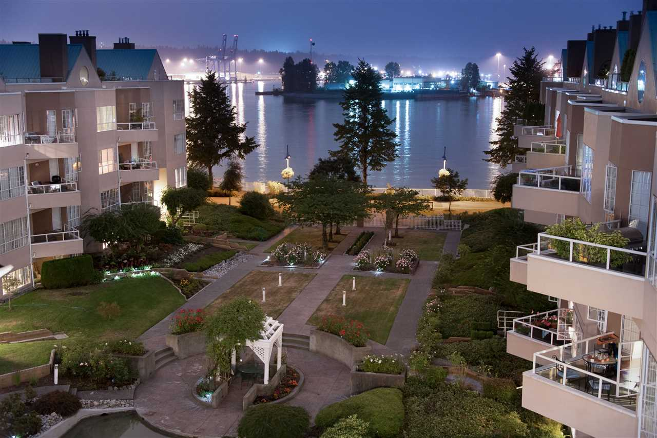 Waterfront living at the Quay. This walk out 2 bed/2 bath garden suite faces the bright south to the garden, fountains and Fraser River. Dog friendly lifestyle ? walk right out to the boardwalk and walk to the dog park, Pier Park, River Market and enjoy waterfront living. This large unit is freshly painted & bright. Friendly neighbours, awesome strata, a place you want to call home. This is a pet friendly, quiet environment and an owner occupy (no rentals) building. Come see us.