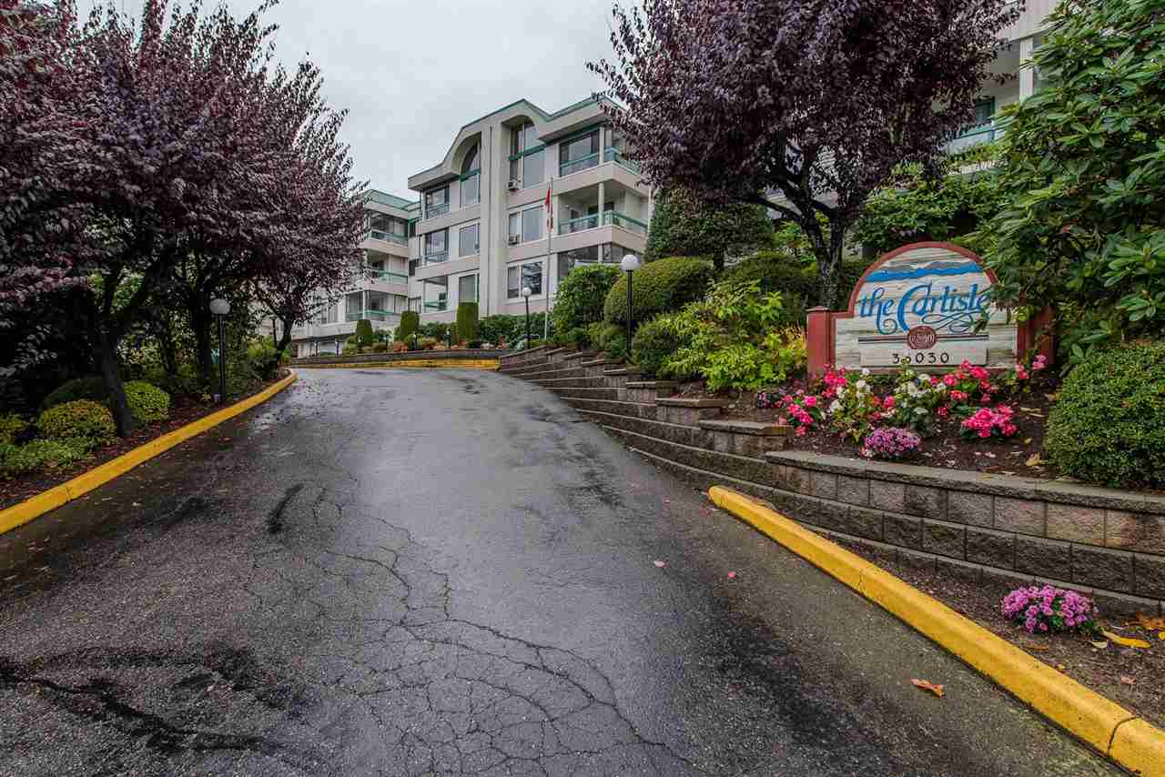 Beautiful inside unit in the centrally located and well run Carlisle. This 50+ building is close to Mill Lake, restaurants, shopping and more. This unit features new flooring, paint, and light fixtures. This bright, open and clean unit also includes in suite laundry and large rooms. This unit is off the ground level even though it is a first floor unit. The Carlisle building has exercise center, recreation center, storage, and workshop. No rentals or pets allowed. Call today for more information on this great unit.