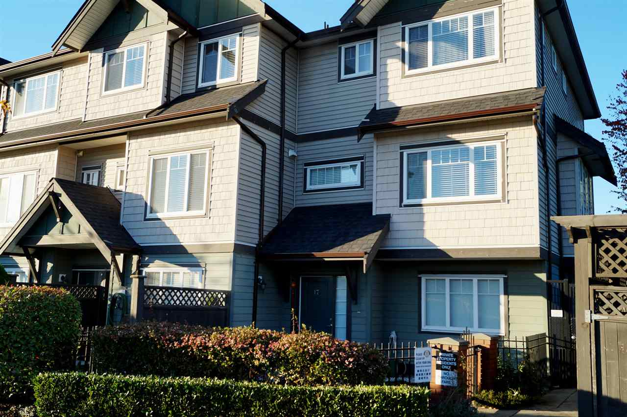 Rarely available corner unit allows maximum natural light. This beautiful 3 bedrooms, 2 bathrooms, and side by side garage townhouse is well maintained. Features include 9' ceiling, open kitchen concept, granite countertops, stainless steel appliance, fenced yard, and ample street parking. Located close to public transportation, shopping at the outlets, and a 15 minute drive to Richmond Centre. Excellent for 1st time home buyers and families. All measurements and ages are approximate, buyer to verify if deemed important. Call today for your private viewing.  Come see this beautiful home!!!
